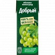 Сок «Добрый» яблоко-виноград, 200 мл.
