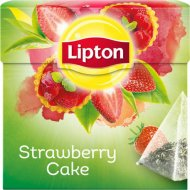 Чай зелёный «Lipton» клубничное пирожное, 20 пакетиков.