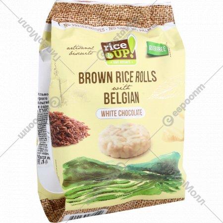 Цельнозерновые роллы «Rice UP!» с белым бельгийским шоколадом, 50 г.