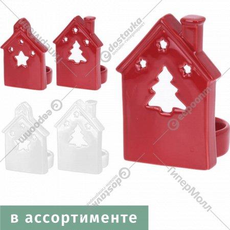 Подсвечник «Новогодний домик» керамический 7х8х11 см.