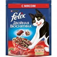 Сухой корм «Felix» двойная вкуснятина для кошек, с мясом, 300 г.