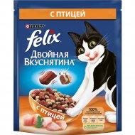 Сухой корм «Felix» двойная вкуснятина для кошек с птицей, 300 г.