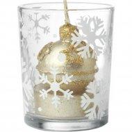 Подсвечник «Новогодний» стеклянный со свечей 12х12х10 см.