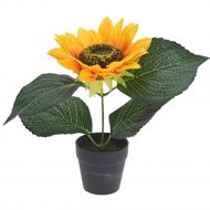 Цветок искусственный «Подсолнух» в горшке, 22 см.
