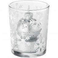 Подсвечник «Новогодний» стеклянный со свечей 13х13х10 см.