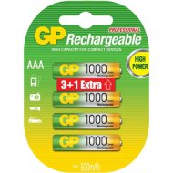 Аккумулятор «GP», 1000 mAh, AAA, 4 шт.