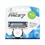 Сменные кассеты для бритвы «Dorco» PACE 7, 4 шт, 7 лезвий.