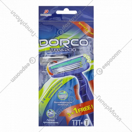 Бритва одноразовая DORCO TRA 200 станок (4 шт.) 3 лезвия, плавающая головка.