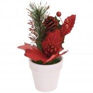 Цветок искуственный декоративный новогодний, 16 см.