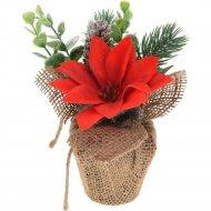 Цветок искуственный декоративный новогодний, 18 см.