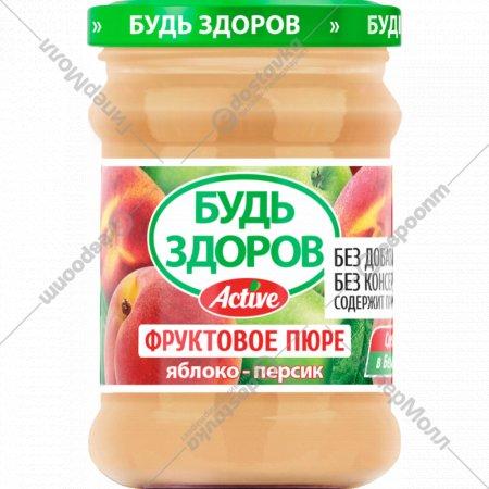 Пюре фруктовое «Будь здоров» яблоко-персик, 240 г.