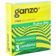 Презервативы «Ganzo» ультратонкие, 3 шт., фасовка 45 кг