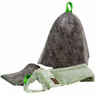Банный набор «ГлавБаня» шапка+рукавица+мочалка.