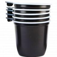 Чашки одноразовые, коричнево-белые, 0.2 л, 5 шт.
