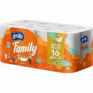 Туалетная бумага «Grite» Family Dekor трехслойная, 16 рулонов.