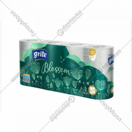 Туалетная бумага «Grite» Blossom,трехслойная, 8 рулонов.