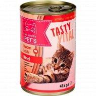 Влажный корм для кошек «My happy pets» с говядиной, 415 г.
