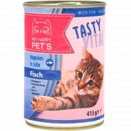 Корм для кошек «My Happy Pets» с рыбой, 415 г.