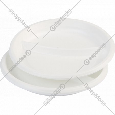 Тарелки одноразовые, двухсекционные, белые, 205 мм, 12 шт.