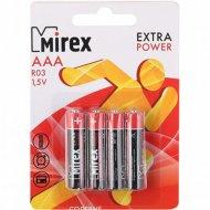 Батарейка солевая «Mirex» R03 AAA, ER03-E4, 1.5V, 4 шт.