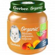 Пюре фруктовое «Gerber Organic» яблоко, абрикос, персик, 90 г.