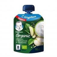 Пюре фруктово-йогуртное «Gerber Organic» яблоко, со злаками, 90 г.