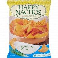 Начос чипсы кукурузные «Happy Nachos» со вкусом сметаны и лука, 75 г