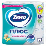 Бумага туалетная «Zewa» Plus свежесть океана, 4 рулона.