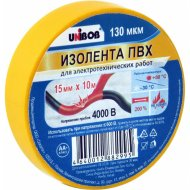Лента изоляционная ПВХ «Unibob» желтая, 15 мм х 10 м.