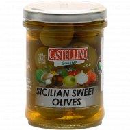 Оливки зеленые «Сицилрийские» сладкие с косточкой, 180 г.
