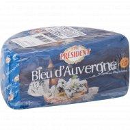 Сыр мягкий «Bleu D'Auverne President» 50%, с голубой плесенью, 1 кг, фасовка 0.2-0.25 кг