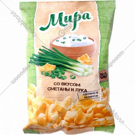 Снэки картофельные «Мира» со вкусом сметаны и лука, 80 г.