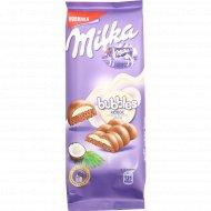 Шоколад молочный пористый «Milka bubbles» с кокосовой начинкой, 97 г.