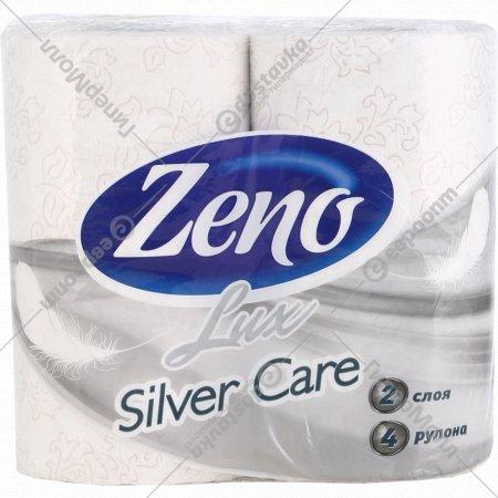 Бумага туалетная «Zeno Lux» Silver Care, двухслойная, 4 рулона.