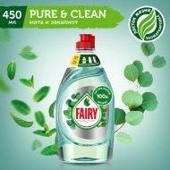 Средство для мытья посуды «Fairy» Pure&Clean мята и эвкалипт, 450 мл