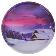 Поднос жестяной «Зима» круглый, 297x277x16 мм.