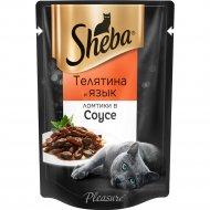 Корм для кошек «Sheba Pleasure» телятина и язык в соусе, 85 г.