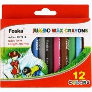 Мелки школьные восковые «Foska» большие, 12 цветов.