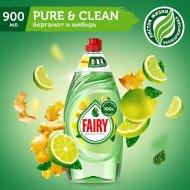 Средство для мытья посуды «Fairy» Pure&Clean мята и эвкалипт, 900 мл