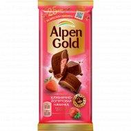Шоколад молочный «Alpen Gold» клубнично-йогуртовая начинка, 85 г.