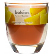 Свеча в стекле, 80х70 мм, с ароматом апельсина.