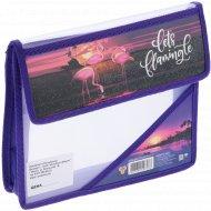 Папка для тетрадей «Фламинго на закате» А5, на липучке.