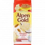 Шоколад белый «Alpen Gold» миндаль и кокос, 85 г.