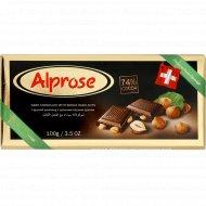 Шоколад горький «Chocolat Alprose» с цельным лесным орехом 74%, 100 г.