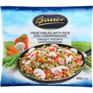 Овощи с рисом и шампиньонами «Bauer» 400 г.