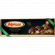 Шоколад горький «Chocolat Alprose» с цельным лесным орехом 74%, 300 г.