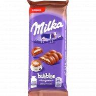 Шоколад молочный пористый «Milka Bubbles» Cappuccino, 97 г.