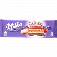 Шоколад молочный «Milka» чизкейк, клубника и печенье, 300 г.