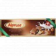Шоколад молочный «Chocolat Alprose» с цельным лесным орехом, 300 г.