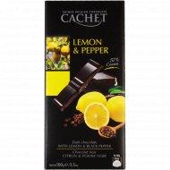 Шоколад «KIMS» горький 57% с лимоном и черным перцем 100 г.